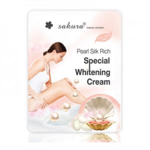 Kem tắm trắng da Sakura pearl silk rich special whitening cream